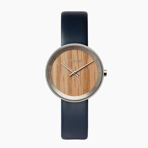 VEJRHOJ 丹麥霍伊經典原木手錶-Freya湛藍-天然紅橡木 34mm