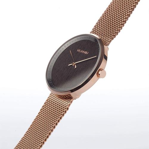 VEJRHOJ|丹麥霍伊經典原木手錶-Stella玫瑰金-深色染胡桃木  34mm