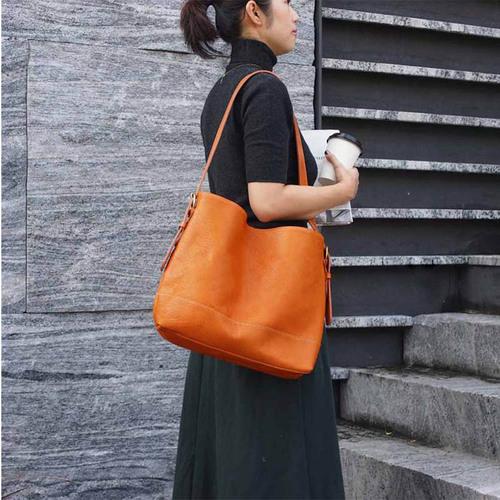 TEHA' AMANA|植鞣工藝 日本職人手作牛皮兩用肩背/斜背包 駝黃色