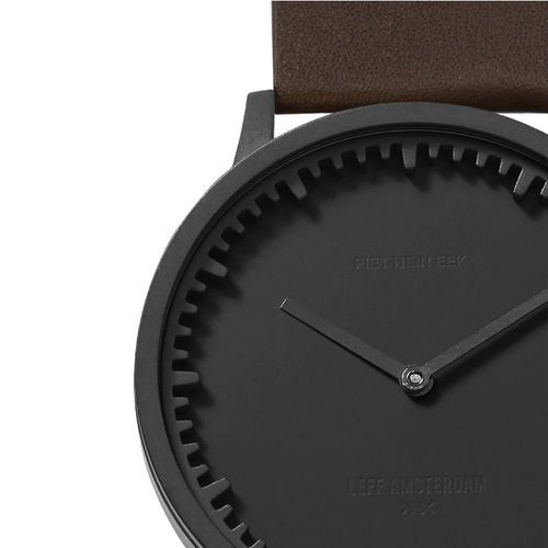 LEFF amsterdam 北歐工業齒輪設計真皮腕錶 (40mm, 霧黑錶盤, 棕色皮革錶帶)