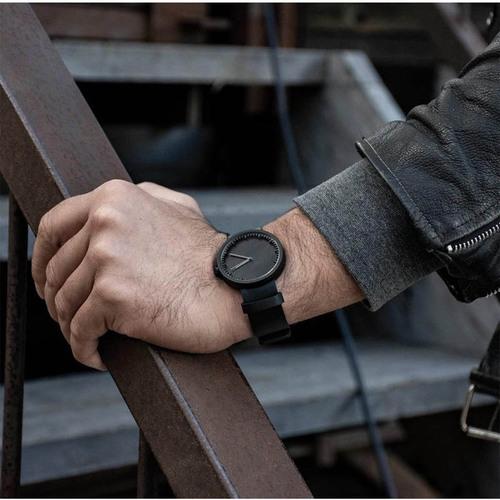 LEFF amsterdam|北歐工業齒輪設計真皮腕錶 (40mm, 霧黑錶盤, 黑皮革錶帶)
