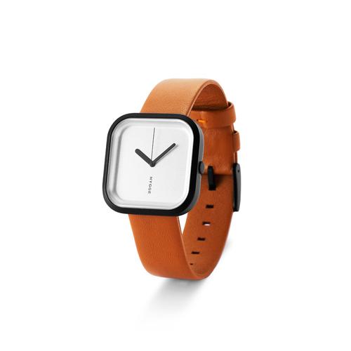 HYGGE|日本玩味時尚真皮腕錶 不鏽鋼銀色 / 不銹鋼黑