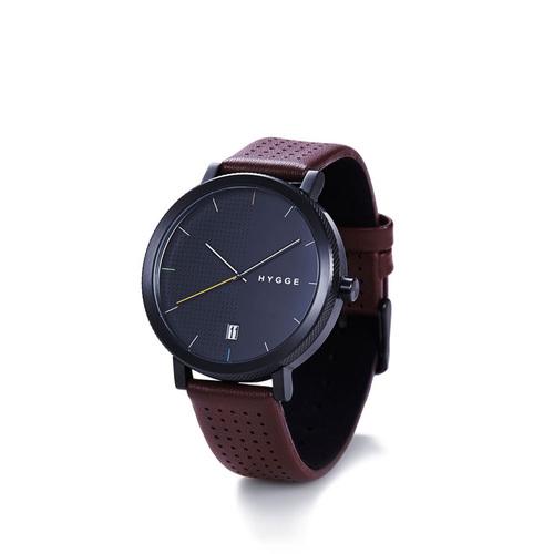HYGGE|日本低調率性真皮腕錶不銹鋼黑錶盤