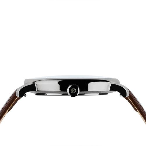 Grundstof|沉穩經典原木手錶 - 核桃木節 40mm 不鏽鋼銀 咖啡皮帶