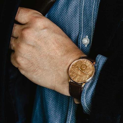 Grundstof|都會時尚原木手錶-淺色橄欖木節 40mm 黃銅金 棕皮帶