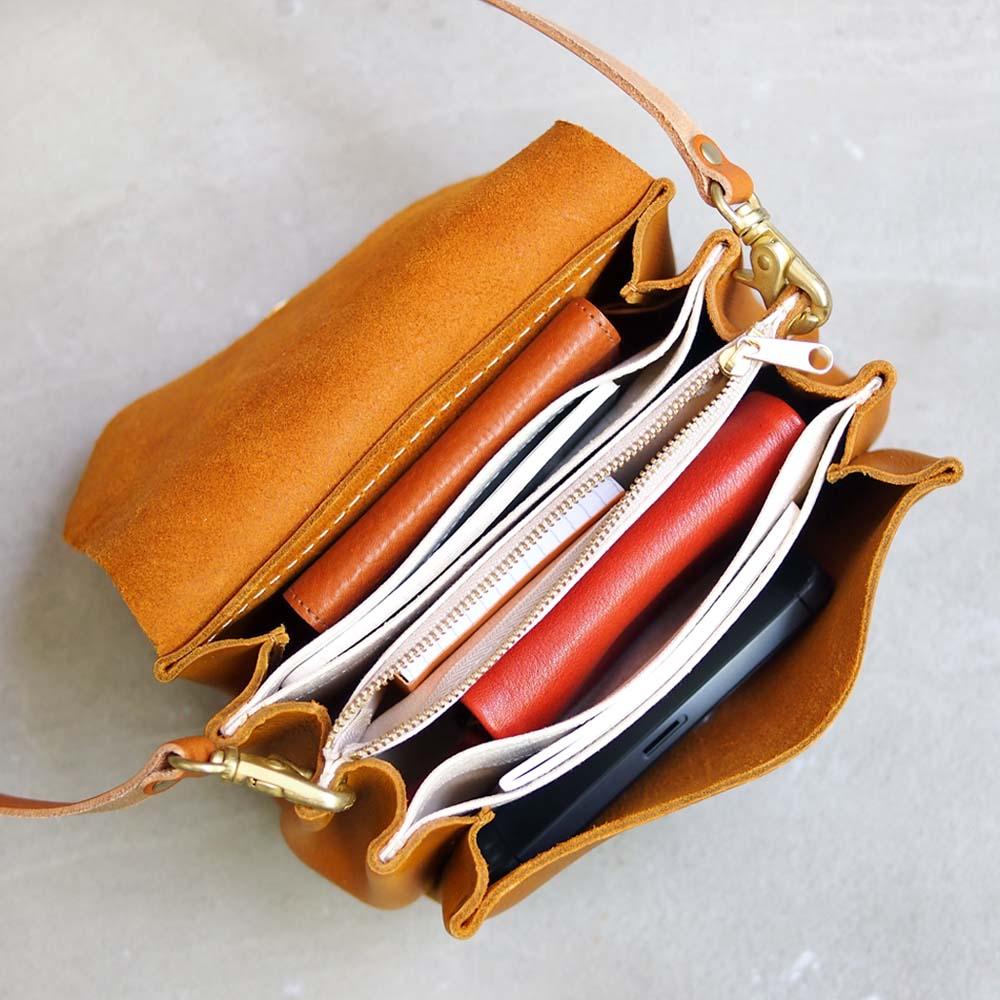 CHAM 日系唯美 迷你摺邊側背/手拿兩用包