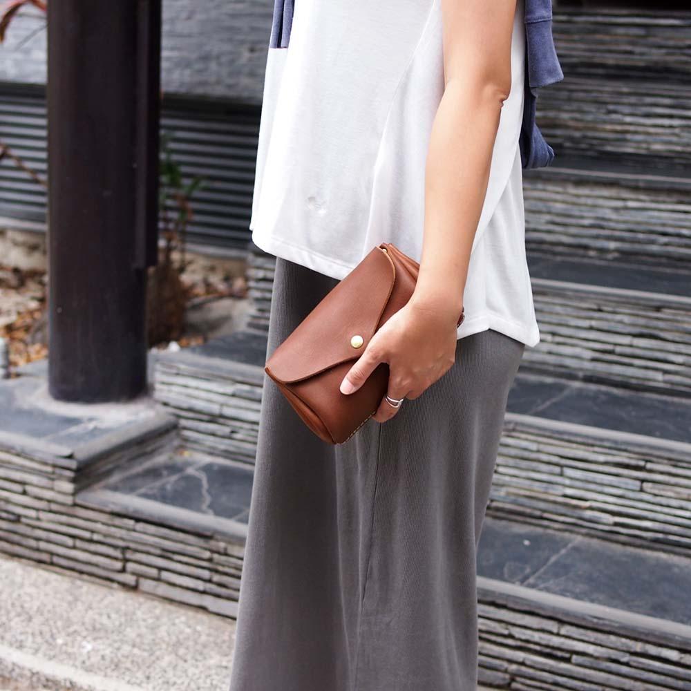 CHAM|日系唯美 迷你摺邊側背/手拿兩用包