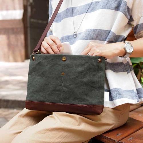 SUOLO 日系休閒簡約 石蠟水洗帆布側背包