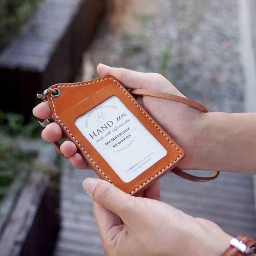 HANDIIN 日系手縫牛革直型兩用票夾 / 識別證