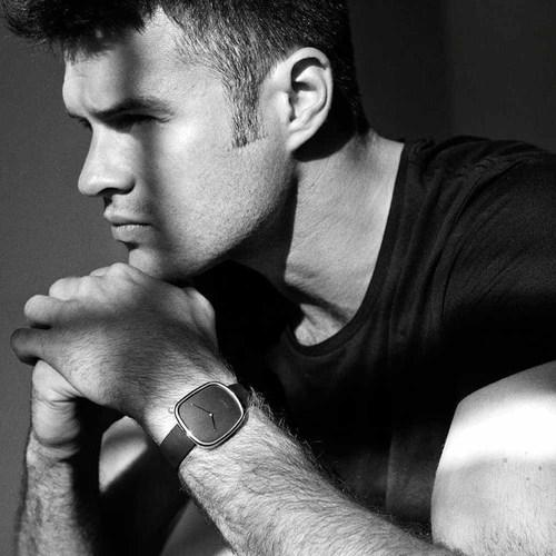 BULBUL|丹麥製 簡約時尚真皮腕錶 40mm,不銹鋼黑、沉穩黑皮革錶帶