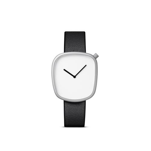 BULBUL|丹麥製 簡約時尚真皮腕錶 40mm,不銹鋼銀、沉穩黑皮革錶帶