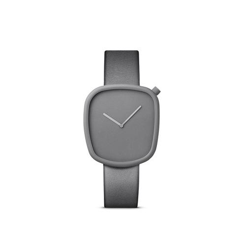 BULBUL|丹麥製 簡約時尚真皮腕錶 40mm,不銹鋼灰、時尚銀灰色皮革錶帶