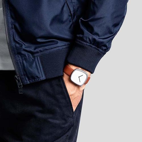 BULBUL|丹麥製 簡約時尚真皮腕錶 40mm,不銹鋼金、質感棕色皮革錶帶