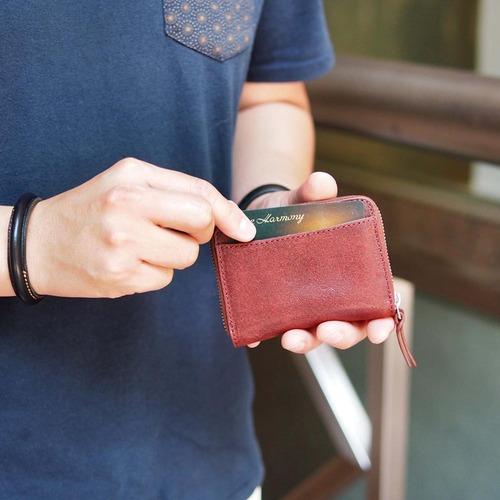 Creed 日系手縫質感 立毛面義大利牛革卡片零錢包