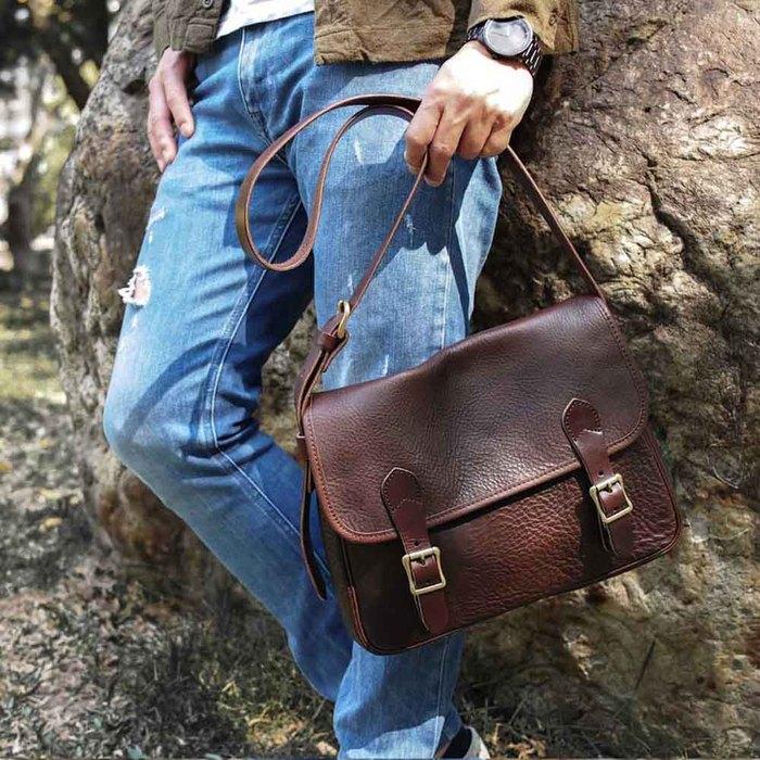 SLOW|復古經典日式植鞣手工牛革側背包