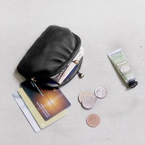 CLEDRAN 日系迷你珠扣牛革卡片零錢包(內附環保購物袋)