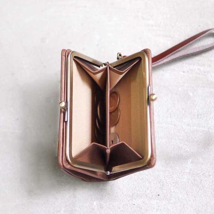 CLEDRAN|日系優雅時尚珠扣植鞣牛皮短夾/手拿包