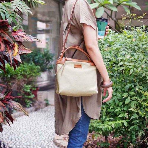 Baggy Port|日系輕熟女休閒帆布兩用側背包/手拿包