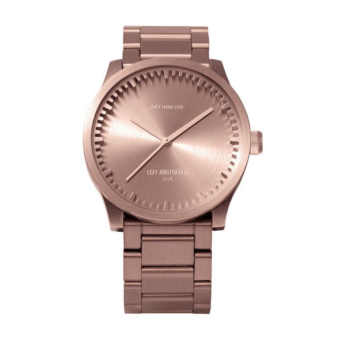 LEFF amsterdam tube北歐工業齒輪設計腕錶(38mm、不鏽鋼玫瑰金鋼帶)