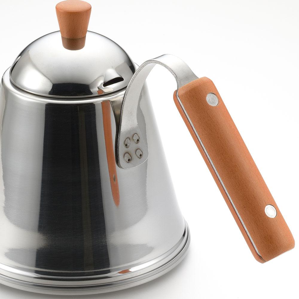 遠馸思創|日本製曲線不鏽鋼細口水壺 (木柄把手 1.0 L)