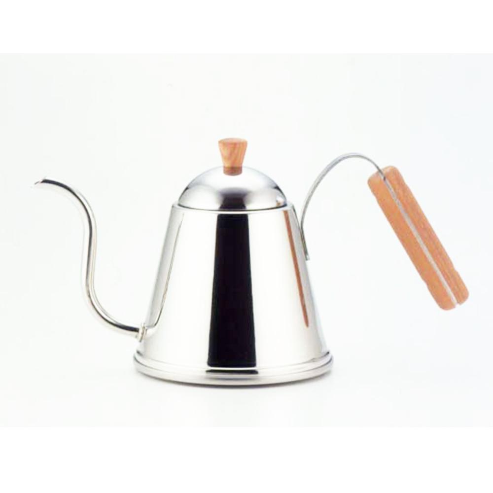 遠馸思創 日本製曲線不鏽鋼細口水壺 (木柄把手 1.0 L)