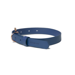 NINIKONI|Cittadino 義大利經典植韖牛皮項圈(藍色)