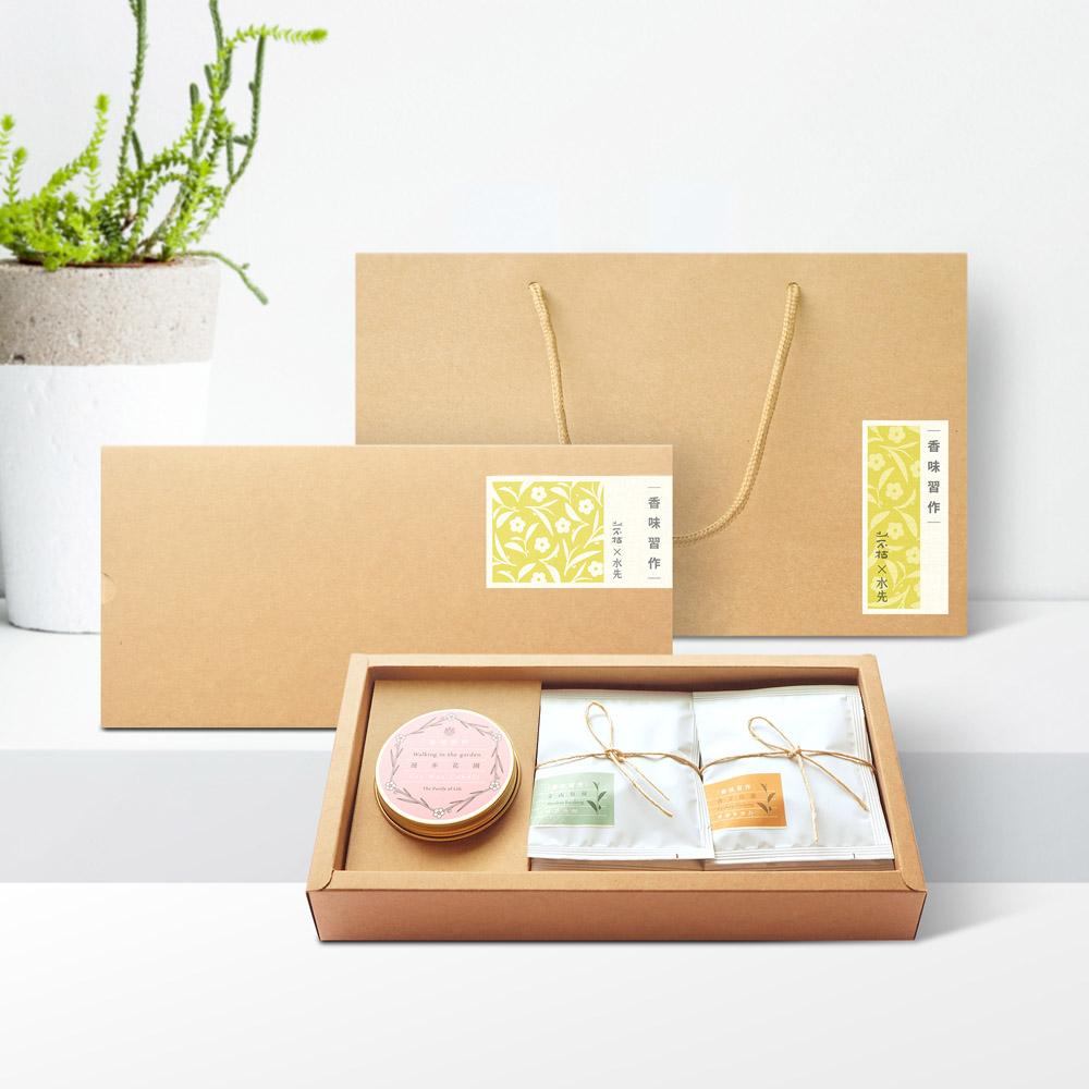 水先 X 山不枯|香味習作 ‧ 精油蠟燭 + 綜合茶包禮盒