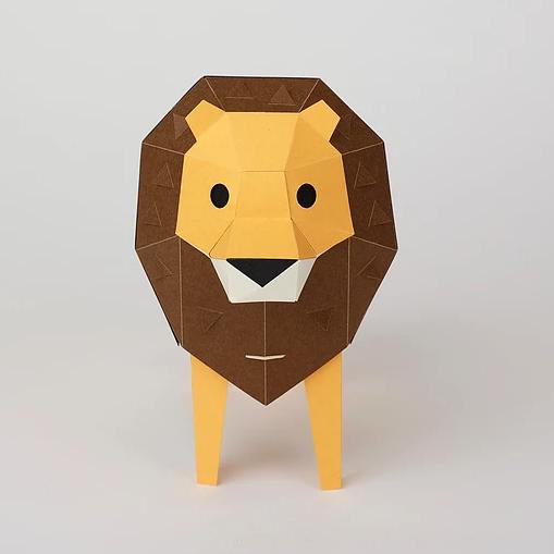 bog craft|立體動物紙藝  獅子/TINY