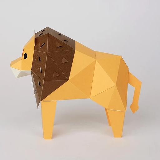 bog craft 立體動物紙藝  獅子/TINY