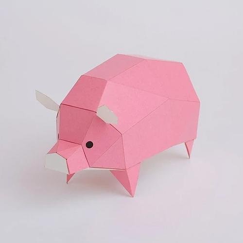 bog craft|立體動物紙藝  豬/TINY
