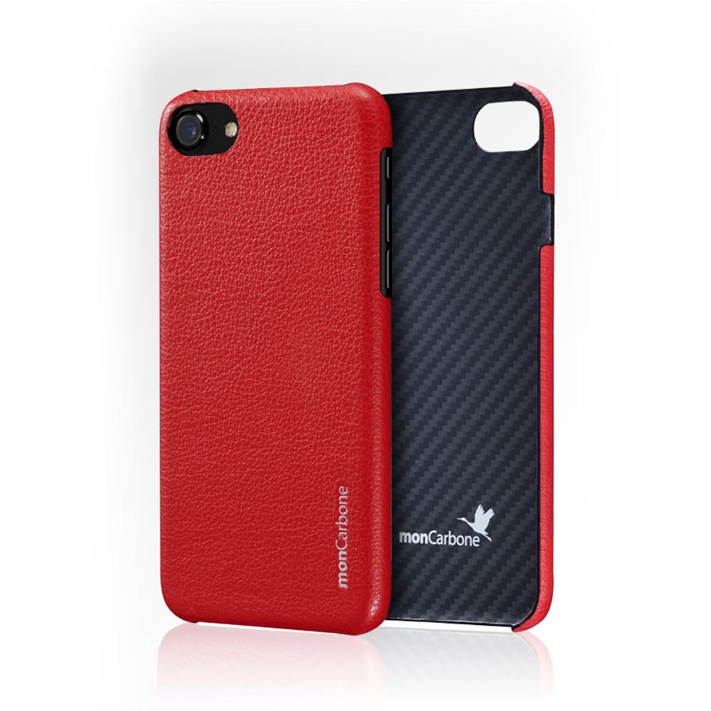 monCarbone|克維拉防彈纖維結合 Napa 皮革保護殼 for iPhone 7 (紅)