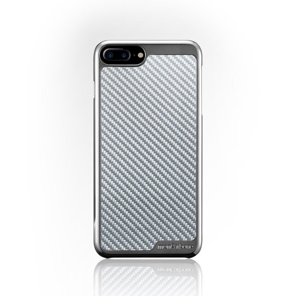 monCarbone|KHROME 碳纖維保護殼 for iPhone 7 (鉻合金/碳纖銀)