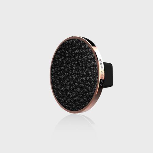 monCarbone|JustClick 義大利 Napa 黑皮革磁吸型車座 – 玫瑰金
