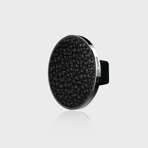 monCarbone|JustClick 義大利 Napa 黑皮革磁吸型車座 – 鉻黑銀