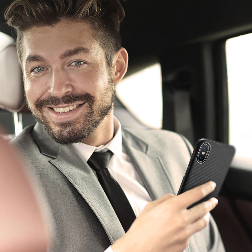 monCarbone|經典款防彈纖維保護殼 iPhone Xs / Xs Max 消光黑