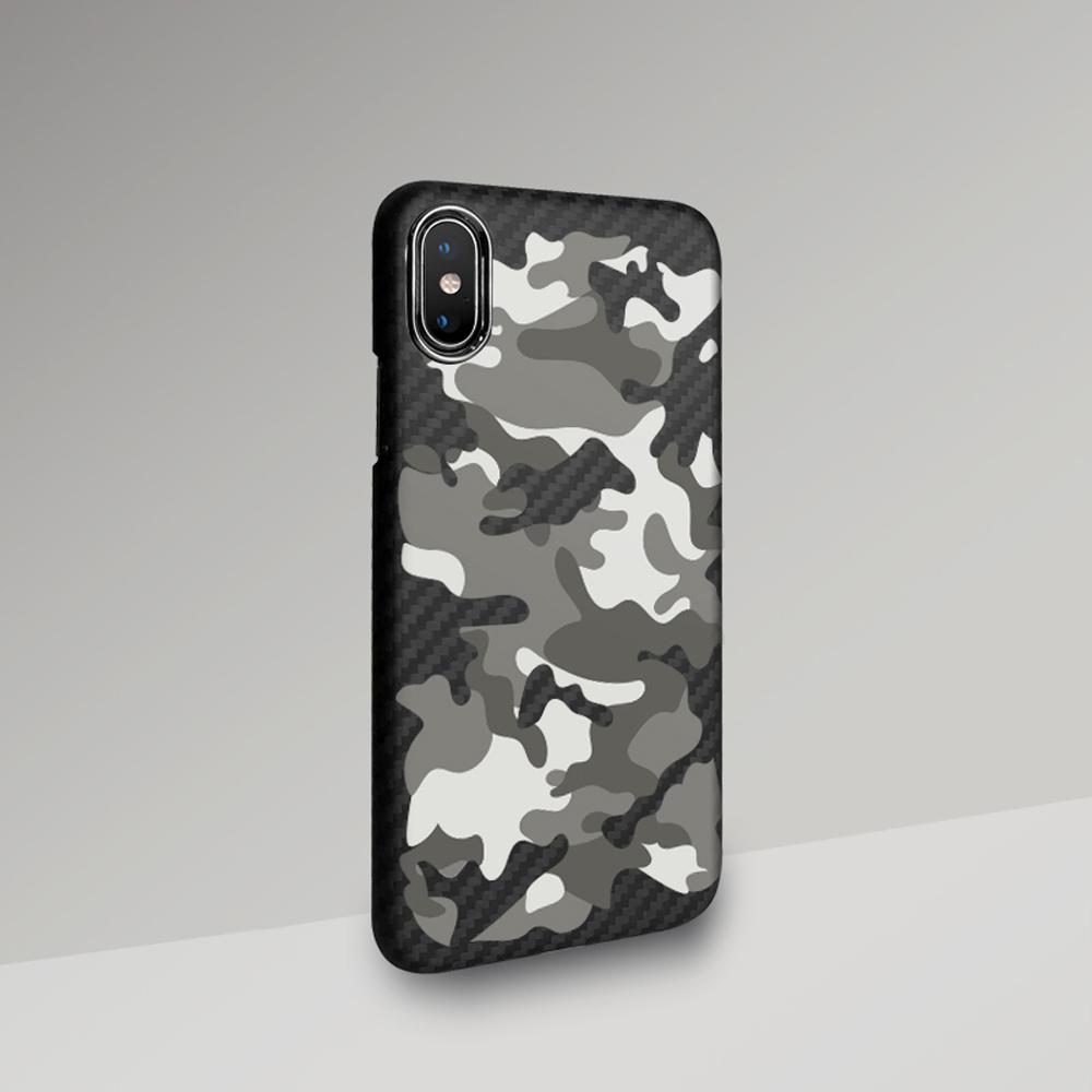 monCarbone|CAMO 防彈纖維保護殼 iPhone Xs / Xs Max – 雪地迷彩