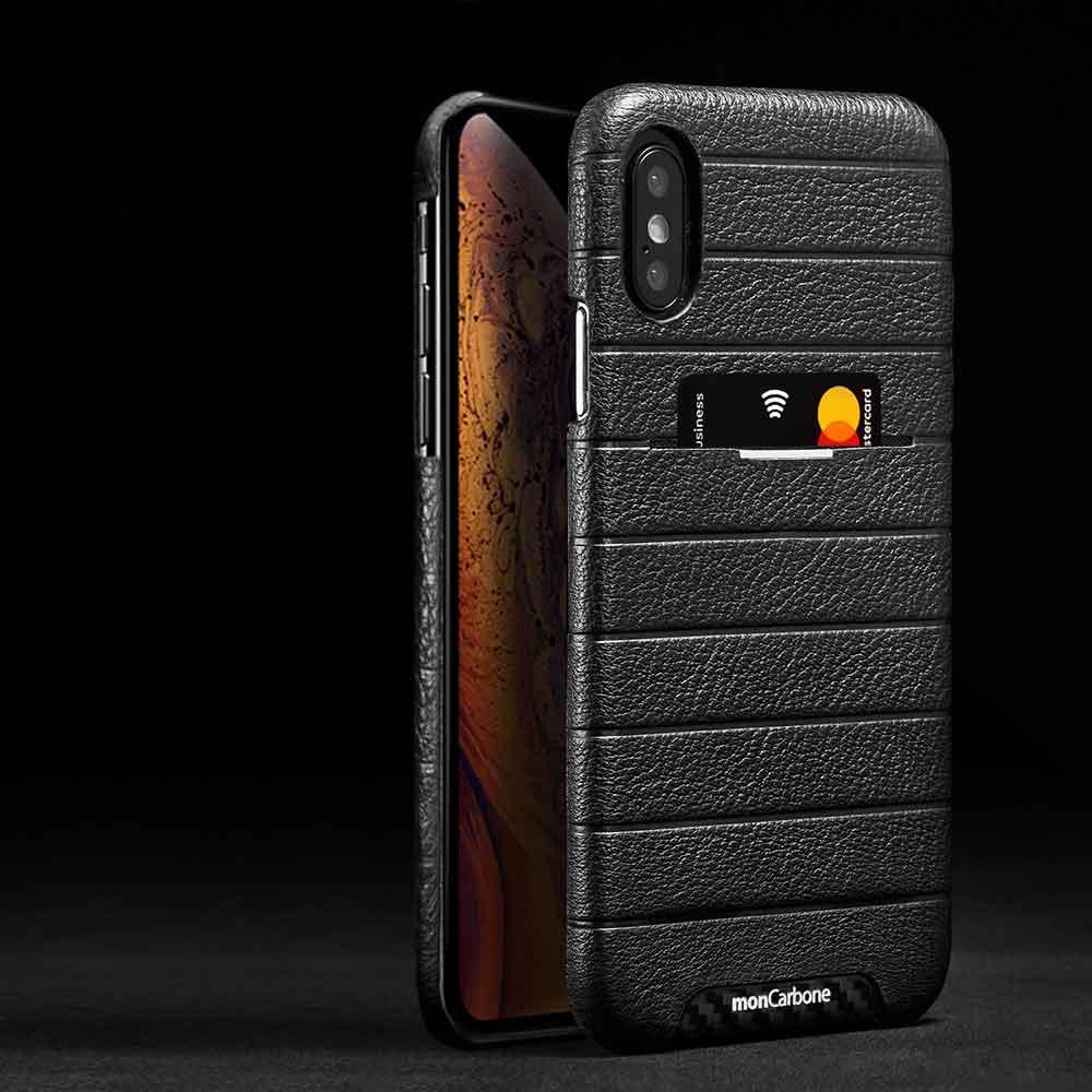 monCarbone|HOVERSKIN 皮革口袋保護殼 iPhone Xs / Xs Max 黑