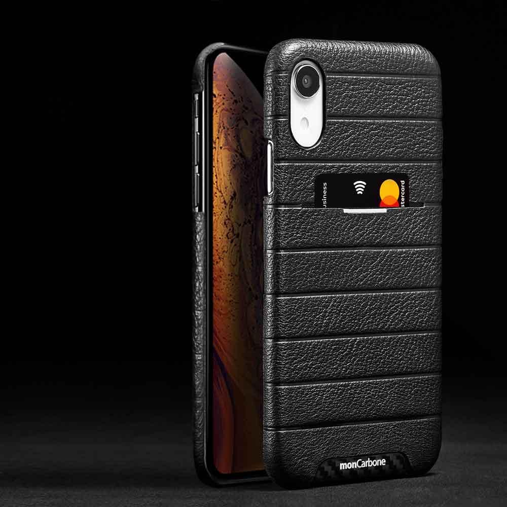 monCarbone|HOVERSKIN 皮革口袋保護殼 iPhone XR 黑
