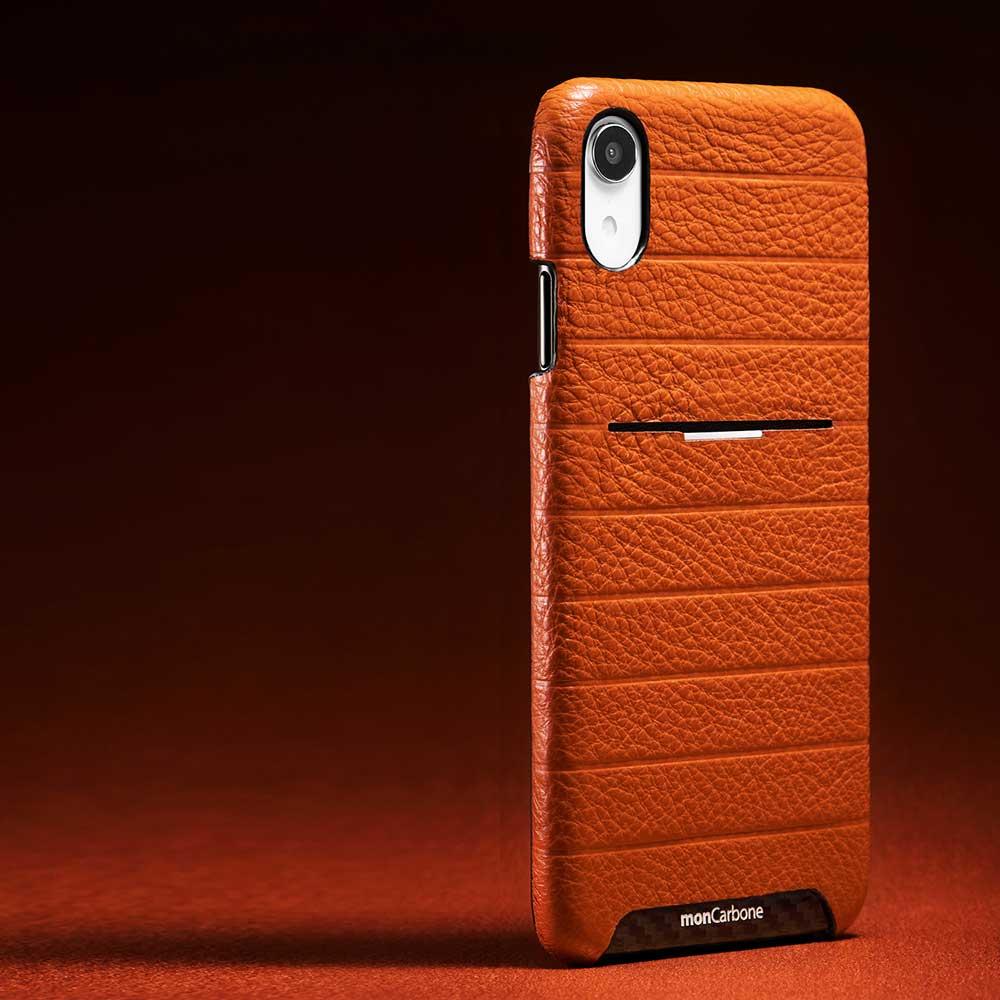 monCarbone|HOVERSKIN 皮革口袋保護殼 iPhone XR 棕