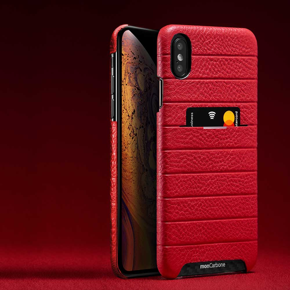 monCarbone|HOVERSKIN 皮革口袋保護殼 iPhone Xs / Xs Max 紅