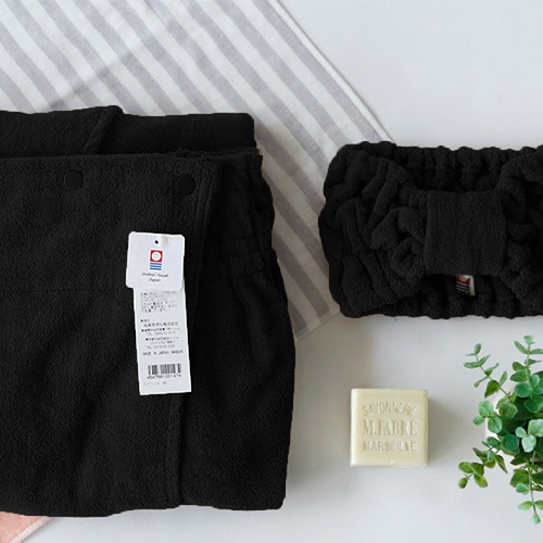 今治織上 │ 日本今治認證 鈕扣裹身裙 + 絨質毛巾髮帶(黑色)
