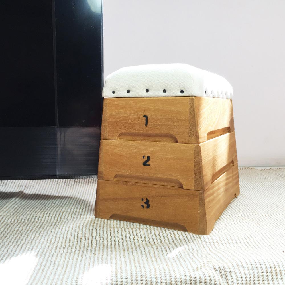 日本豊田産業 跳箱造型木製迷你收納盒-Punva堆疊3層
