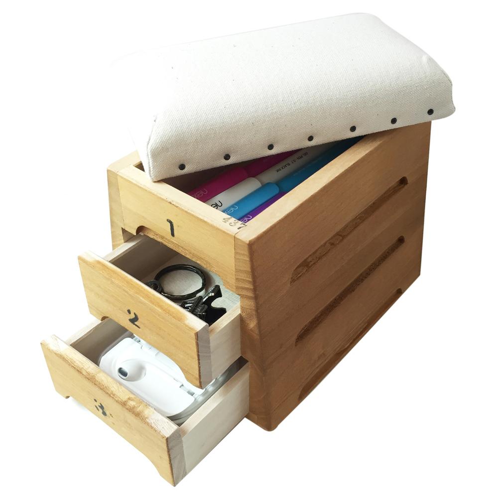 日本豊田産業|跳箱造型木製迷你收納盒-Timon抽屜3層