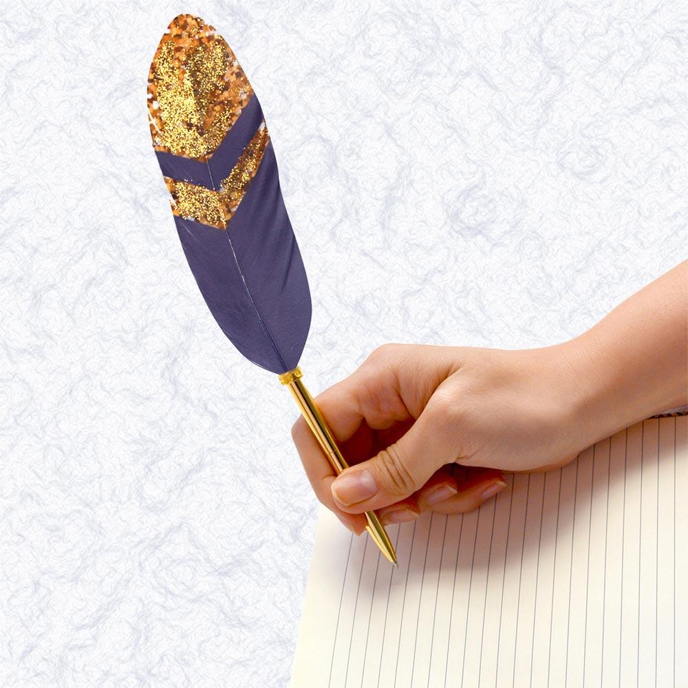 日本Quill Pen   羽毛原子筆Gold奢華系列-a 羽毛筆 原子筆