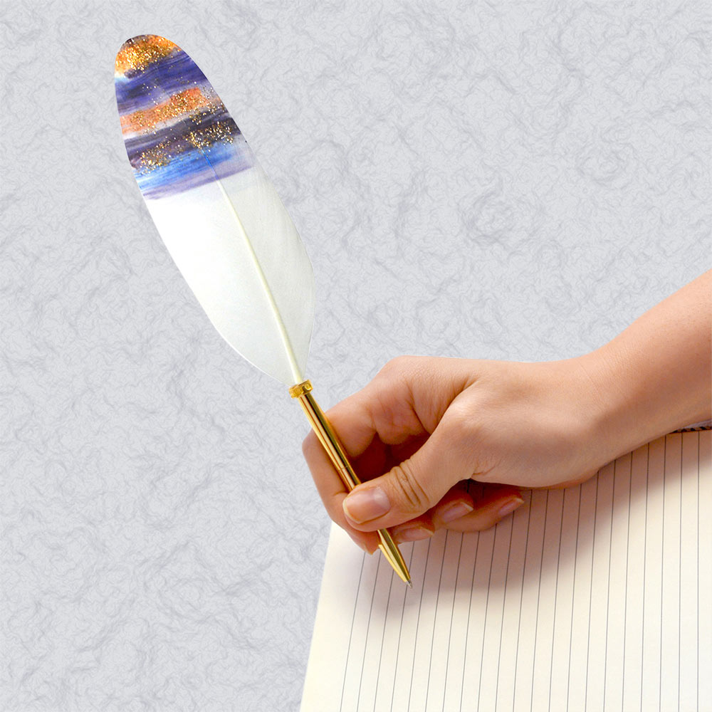 日本Quill Pen | 羽毛原子筆Gold奢華系列-b 羽毛筆 原子筆