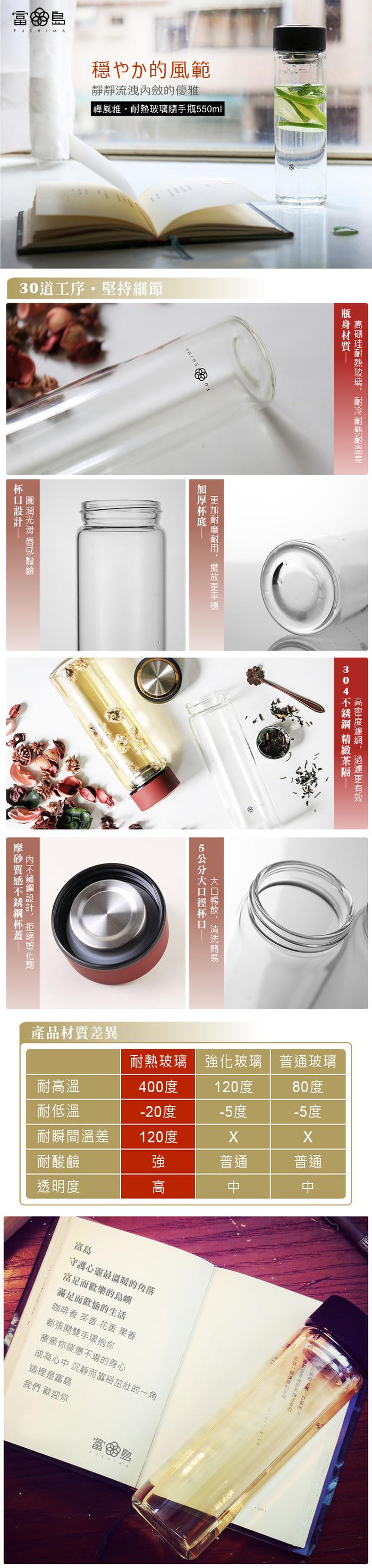 日本FUSHIMA富島|禪風雅泡茶耐熱玻璃隨手瓶550ML(2色可選)