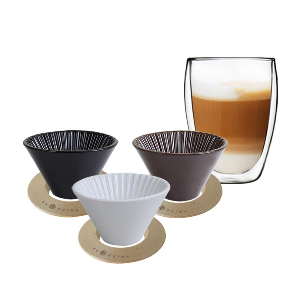FUSHIMA 富島|風雅陶瓷濾杯+木片+雙層玻璃杯350ML小資組(咖啡濾杯)
