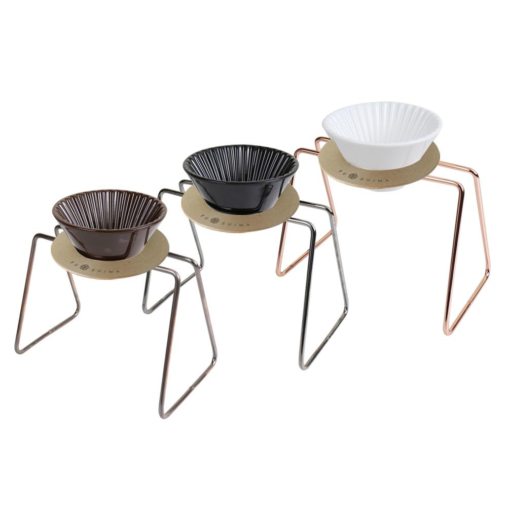 日本FUSHIMA富島|風雅陶瓷濾杯+木片+鐵架典雅組(白濾杯+玫瑰金鐵架)