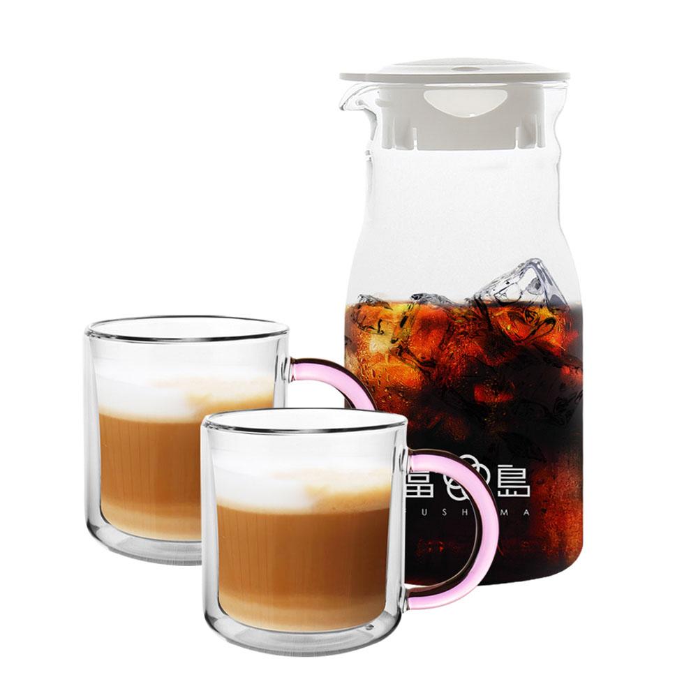FUSHIMA 富島 簡約風杯壺組(分享壺600ML+玻璃杯400ML-粉色(把手)*2)