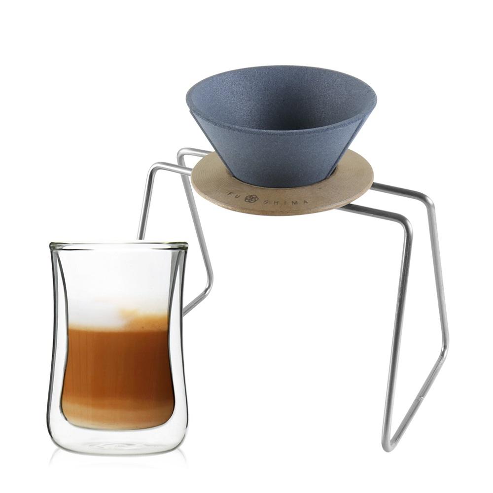 FUSHIMA 富島|精密陶瓷濾杯+木片+鐵架+雙層曲線杯280ML經典組